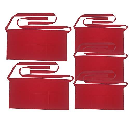 SEW UR LIFE Waterdrop Resistant 3 Big Pockets Christmas Red Waist Apron (5 Set) Kitchen Restaurant Bistro Cafe Bar Pub Cake Shop Bakery Unisex Half Aprons for Chef, Baker, Servers, Waitress, Waiter
