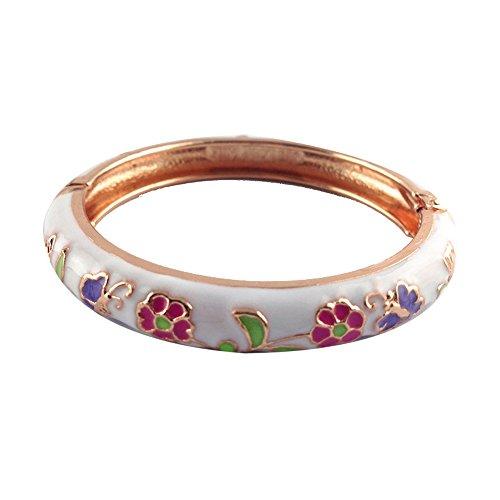 Gold Chinese Snake White (UJOY Children's Day Gift Gold Bangle Flower Cloisonne Bangle Jewelry for Kid Box 55D14 white)