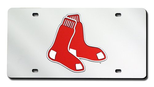 Boston Red Sox License Plate (Rico Industries Boston Red Sox (Silver Background) Laser Tag)