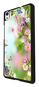 996 - cool fun cute floral flowers flora butterful roses nature shabby chic Design For Huawei Ascend P6 Fashion Trend CASE Back COVER Plastic&Thin Metal - Black