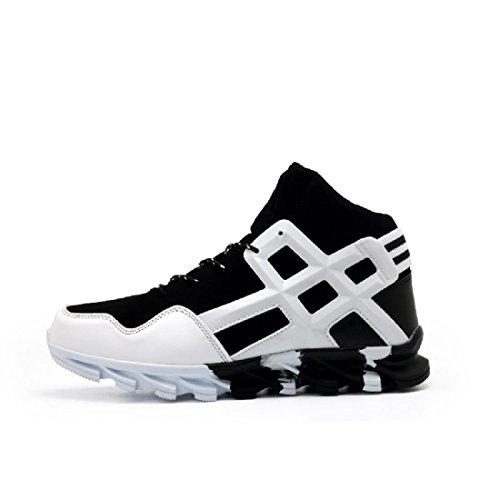 Hombres Zapatos deportivos Antideslizante Respirable Aumentado Formación Zapatos para correr Deportivos black and white