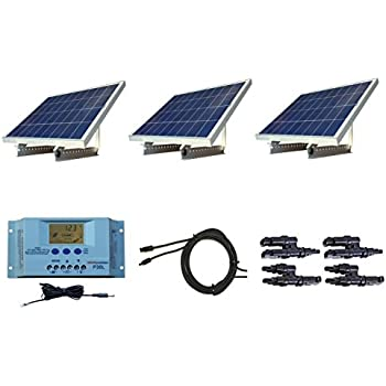 WindyNation 300 Watt 12V Solar Panel Kit w/ Adjustable Solar Mount Rack and LCD Charge Controller RV, Cabin, Off-Grid Battery