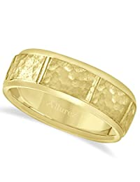 Hammered Finish Carved Band Wedding Ring For Men in 14k Yellow Gold (8mm)