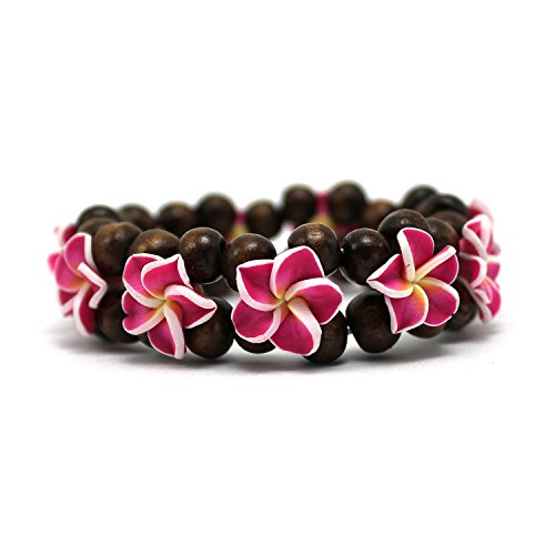 (Hawaii FIMO Vibrant Stretch Wood Bead Plumeria CZ Luau Bracelet in Hot Pink)