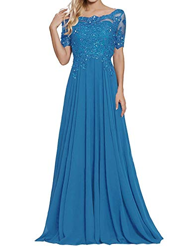 Ocean Blue Long Lace Applique Mother of The Bride Dresses with Sleeves Petite Bateau Neck Maxi Formal Evening ()