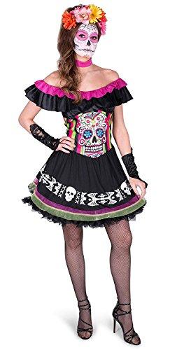 Day of The Dead Costume - Halloween Womens Mariachi Girl Senorita Dress, X-Small ()