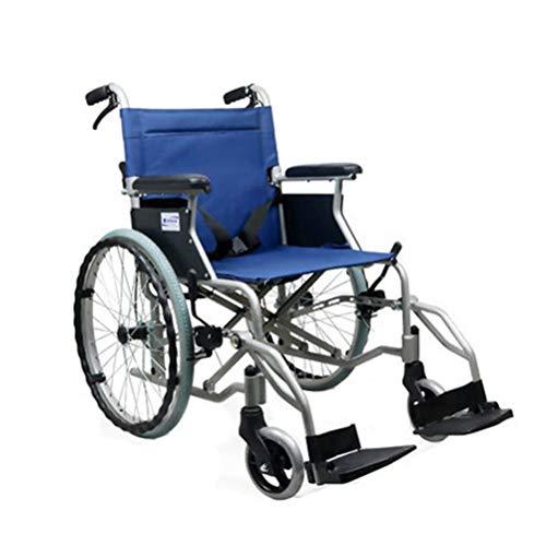 NKDK Wheelchair Aluminum Alloy Portable Portable Wheelchair Back Foldable Manual Wheelchair Travel