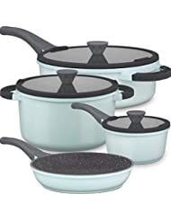 Clearance Non-Stick Induction Pots and Pans Set, Dishwasher Safe Bright Cookware Set, Cool Handle Kitchen Ware, Germany Professional Multilayer Durable NonStick Coating, 7-Piece Set
