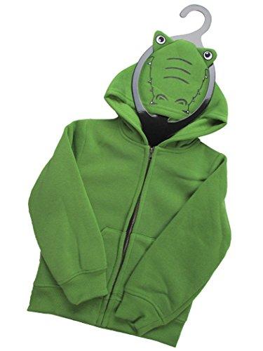Toddler Kids Full Zip Fleece Animal Costume Hoodie Sweatshirt (Alligator, 4T) -