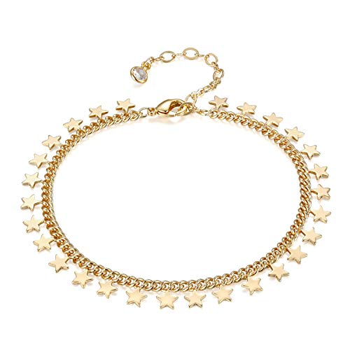 LOYATA Lucky Star Link Bracelet for Women 14k Gold Plated Dainty Delicate Circles CZ Turquoise Charm Chain Bracelet Jewelry (Star)