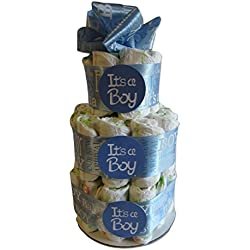 Diaper cake It's A Boy Satin Ribbon Blue Baby Shower Center Piece Gift Party