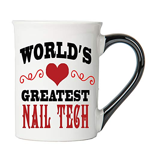 (Cottage Creek Nail Tech Mug Large 18 Ounce Ceramic World's Greatest Nail Tech Coffee Mug/Acrylic Nails [White])