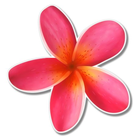 (Plumeria Hawaiian Flower Tropical Vinyl Sticker - SELECT SIZE)