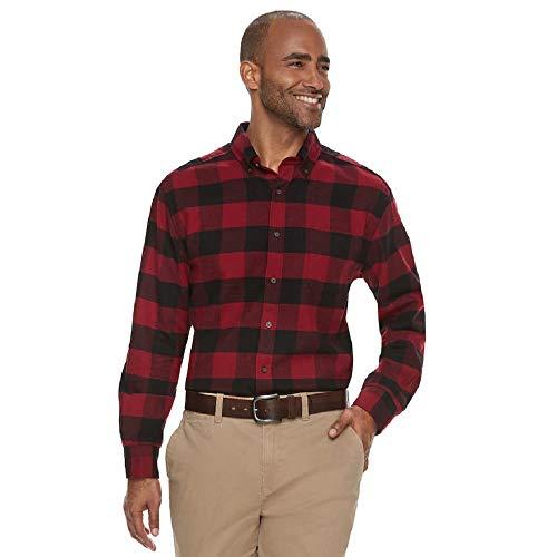 Croft & Barrow Mens Classic Fit Flannel Shirt Buffalo Plaid Check - Red - Large ()