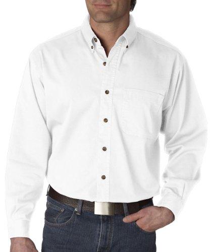 UltraClub Men's Long-Sleeve Cypress Denim with Pocket (White) (2X- -