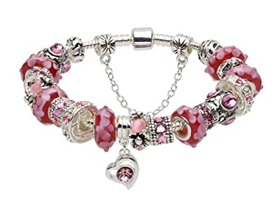 Red murano glass beads pink crystal love heart European complete beaded Mother's Day gifts silver plated bracelets