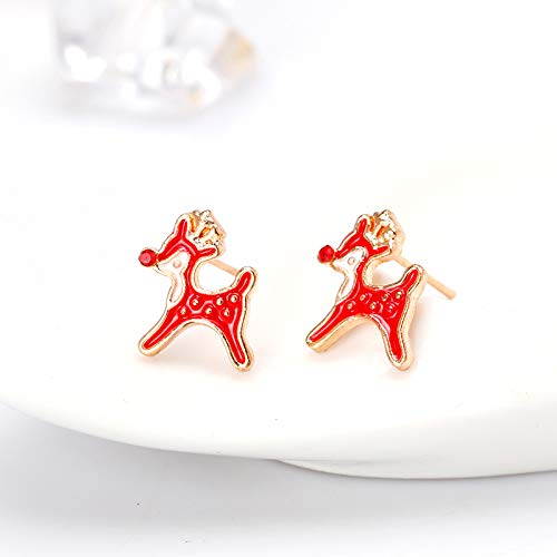 Scrox 1Pair Christmas New Earrings Shiny Red Elk Design Earrings Women Girls Fancy Dress Costume Earrings Charming Jewelry Accessories Party Gift