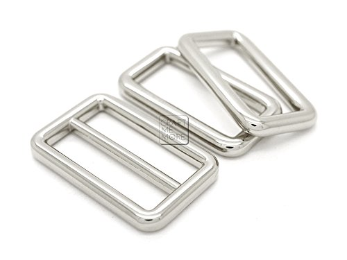 CRAFTMEmore 1Set Silver Metal Purse Slider and Loops Set 1PC Slide Buckle with 2PCS Rectangular Rings Leather Craft (1 1/4 inch, Silver)