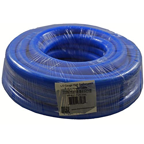 0 Gauge 25 Feet Wire 1//0 AWG High Performance Flexible Amp Power Ground Cable Blue The Wires Zone PW1//0-25BLU