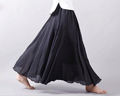 Mujeres Bohemia Cintura Elástico Algodón Larga Lino Faldas Las Faldas de Lino Falda Plisada Negro