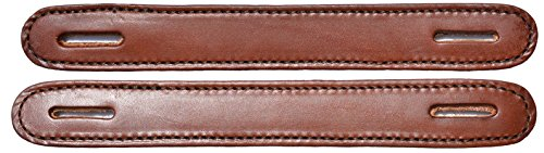 Leather Steamer Trunk - Pair of Brown Leather Double & Stitched Slotted Steamer Trunk Handles 100BR
