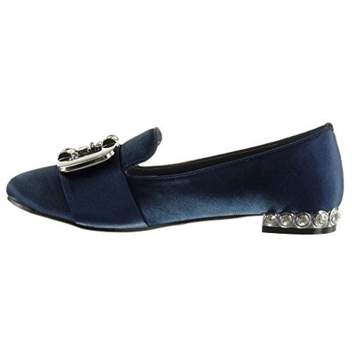 Buckle Fashion cm Studded Jewelry Mocassins 5 on Heel Shoes Block Blue Angkorly Women's 1 Slip 4AqxY