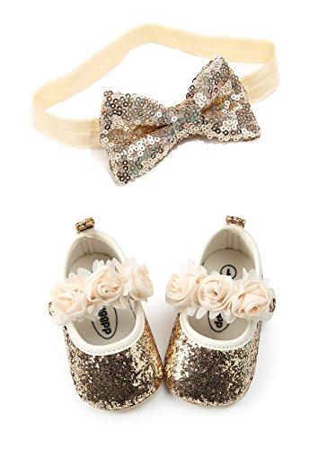 Kuner Baby Girls Christening Baptism Toddler Shoes Dance Ballerina Slipper with Bow Ribbon (Size3-Shoes length-12cm(6-12months), Golden-1) ()