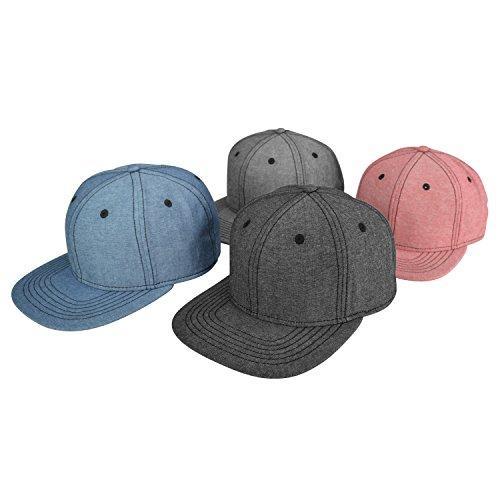 DALIX Premium Flat Bill Snapback Chambray Hat 6 Panel Cap (Red, Blue, Black, Gray)