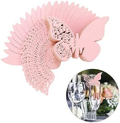 QH-Shop Tarjeta de Copa Mariposa 100 Piezas 3D Hollow Mariposa Nombre Lugar para Boda Invitaciones Regalo Detalle de Boda Cumpleaño Communion Rosa