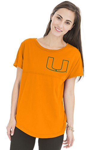 Venley NCAA Miami Hurricanes Women's Callie Short Sleeve Football Tee, Medium, Neon Orange