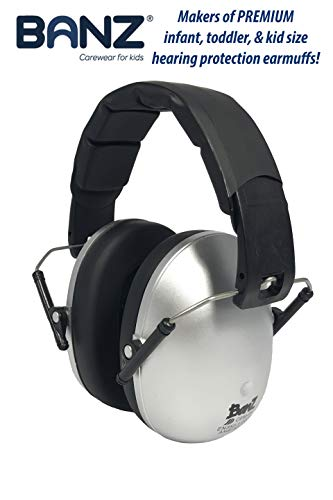 Banz Earmuffs Hearing Protection - The Best Earmuffs for Kids - Premium Kids Ear Muffs - Block Noise (Silver)