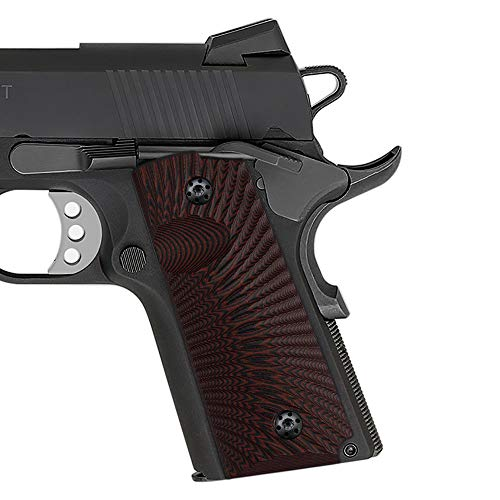 Cool Hand 1911 G10 Grips, Compact/Officer, Sunburst Texture (Cherry)