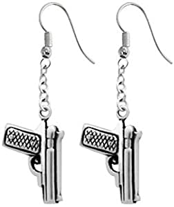 Dan's Jewelers Dangle Gun Earrings Hanging Pistol Handgun Revolver Hook, Fine Pewter Jewelry
