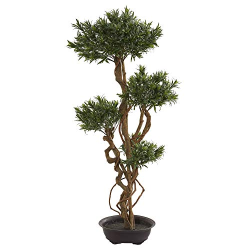 Nearly Natural 5557 4.5' Bonsai Styled Podocarpus Artificial Silk Trees, Green ()