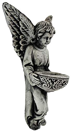 (Holy Angel Statue with Bowl Wall Plaque Home and Garden Statues Decor Cement Cherubs)