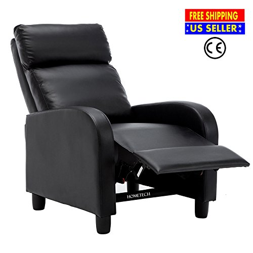 Leather Home Theater Extension Sofa (Recliner Chair for Living Room Black Single Modern Soft Leather Chaise Sleeper Sofa Lounge Couch w/ Armrest | Ergonomic Comfortable Reclining Stretch Heavy Duty Club Seat for Home Theater Office Rest)