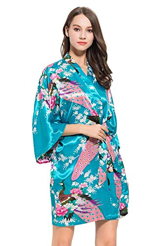 Mujer Albornoz Rosado Elegante Vestido Moda Estampado Kimono Un Tamaño Para Camisón Pijama Floral Especial Estilo Vintage Largo Türkis z8wqEw7