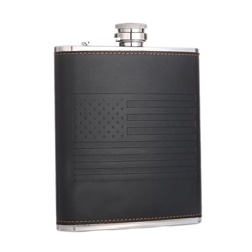 American Flag Flask 18 oz Black Stainless Steel Whiskey Hip Flask for Liquor with Leather Wrapped, TOX TANEAXON
