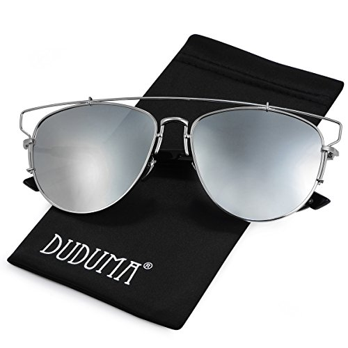 Duduma Polarized Fashion Aviator Sunglasses with Full Metal Crossbar Frame for Women and Men 8027 (Frame Silver, Silver mirror - Into Best Driving For Sunglasses Sun