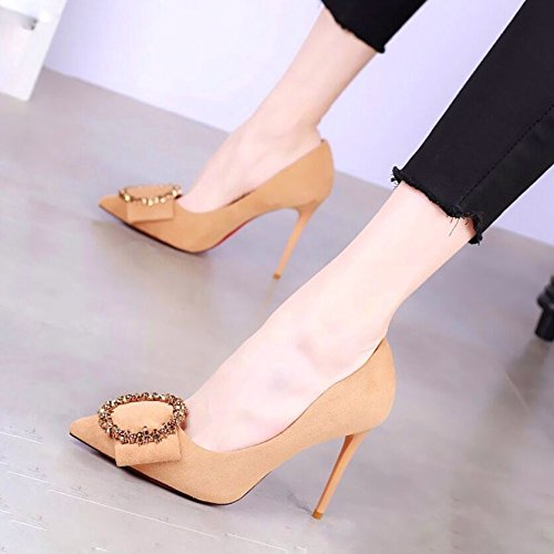 Heels Fashionable Women Single Shoes High Spring Drill yellow 10Cm In Shallow Thin Wild The KPHY Heels Pointed vwpXHp