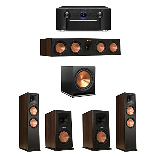 Klipsch-51-Walnut-System-with-2-RP-280F-Tower-Speakers-1-RP-450C-Center-Speaker-2-Klipsch-RP-160M-Bookshelf-Speakers-1-Klipsch-R-115SW-Subwoofer-1-Marantz-SR7011-AV-Receiver
