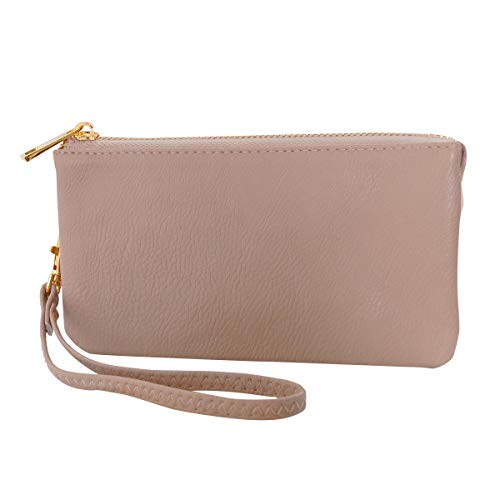 Humble Chic Vegan Leather Wristlet Wallet Clutch Bag - Small Phone Purse Handbag, Tan, Nude, Beige