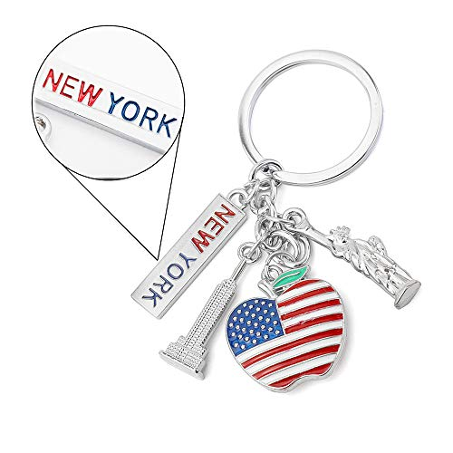 GTNINE Keychain Tourist Souvenir Gift Keyring for New York City USA Collection
