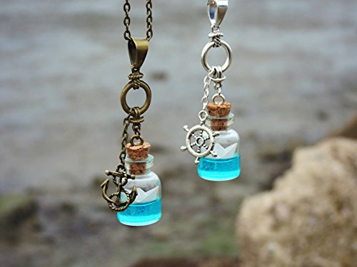 3ccde29ab4ac Amazon.com: Tiny origami paper boat glass bottle necklace - bronze ...
