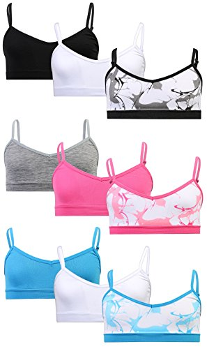 Sweet & Sassy Girls Seamless V-Neck Bra 9 Pack, Marble, Medium/32A' by Sweet & Sassy