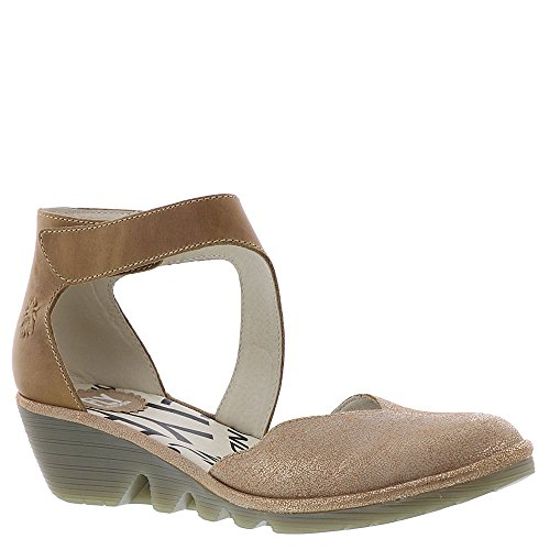 Fly London Mujeres Pats801fly Wedge Sandalia Luna / Camel Cool / Alfombra
