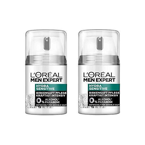 L'Oréal Men Expert Hydra Sensitive Gesichtspflege, mit Birkensaft, empfindliche, trockene und sensible Männerhaut beugt schuppiger Haut vor (2 x 50 ml)