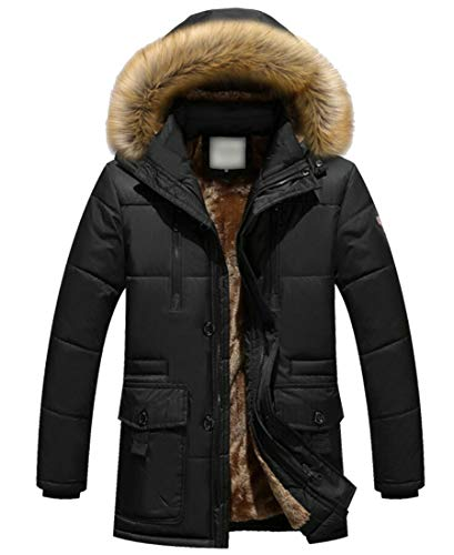 security Fur Mens Parkas Faux Black Jacket Coat Hoodie Fleece Outwear qtqrZaxdw