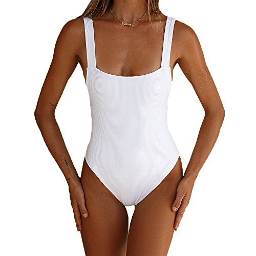 Big Rib Bodysuit - MOLFROA Women's Sexy Wide Straps Low Cut U Neck Backless Rib Bottoming Vest Bodysuit Rompers (White,XL)