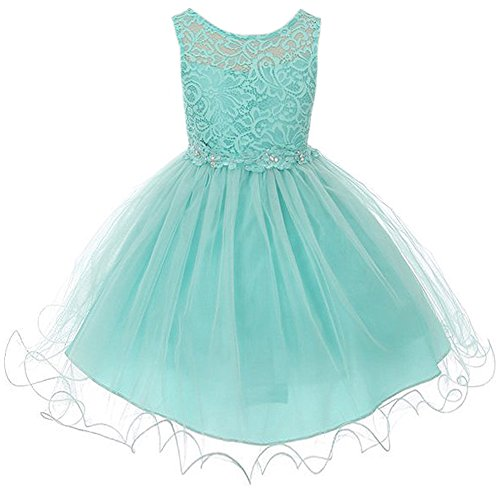Big Girls Stretch Lace Bodice Wired Tulle Skirt with Flower Patch on Waistline Dress Tiffany Blue - Size 14